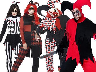 Joker Outfit For Women (Krazed Jester Costume Adult Evil Fancy Dress Halloween Jokers Wild Outfit)