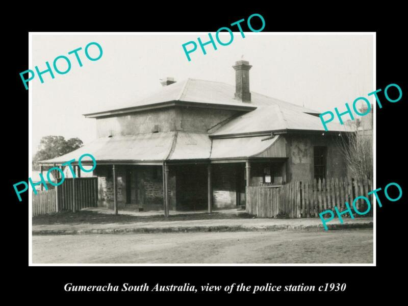 OLD POSTCARD SIZE PHOTO OF GUMERACHA SA VIEW OF THE POLICE STATION c1930
