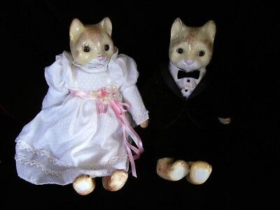 Vintage Porcelain Bride and Groom Yellow Cat Dolls in Clean Hand Made Clothes