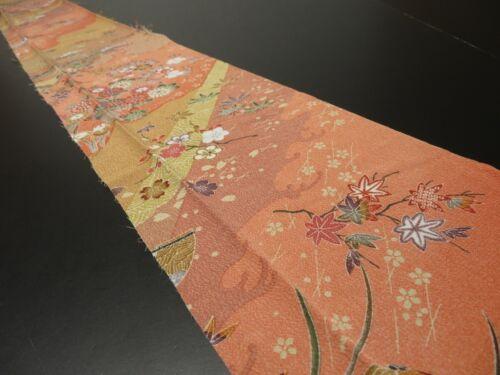 """1K08z50 Japanese Kimono Silk  FABRIC Salmon pink Flowers 60.6"""""""