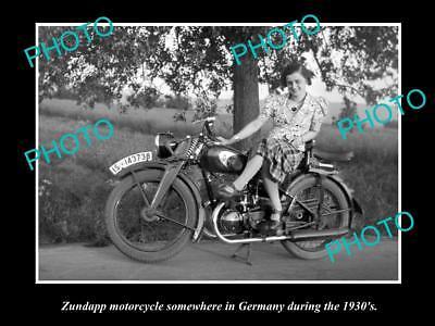 OLD LARGE HISTORICAL MOTORCYCLE PHOTO OF ZUNDAPP MOTORCYCLE, GERMANY 1930s