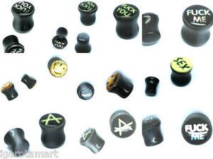New Anarchy A Cats Eye Black Stone Ear Plugs Flesh Plug Piercing Expander