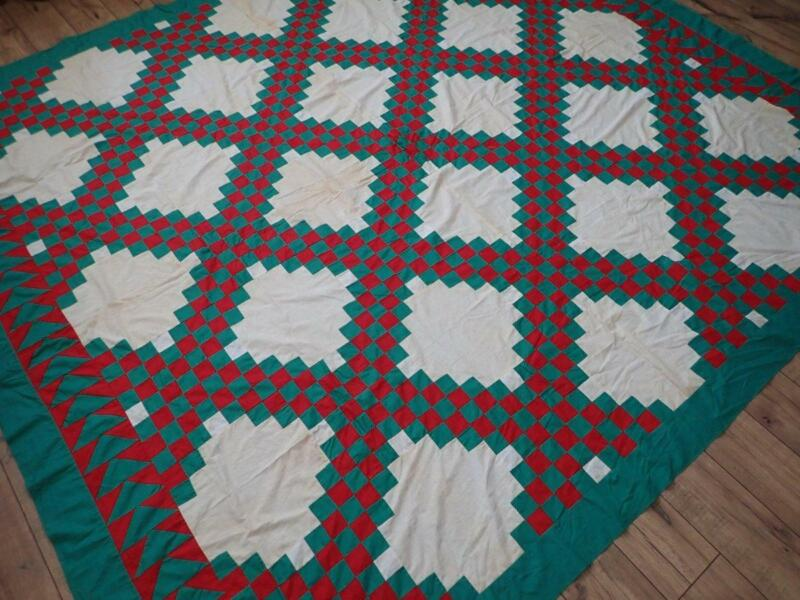 Grand! Antique Red & Green Irish Chain Quilt Top 92x83