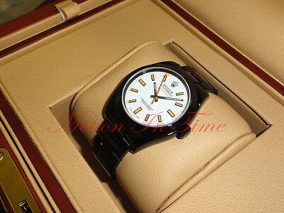 Rolex Milgauss White Dial PVD All Black Oyster Bracelet 40mm Rare Model 116400