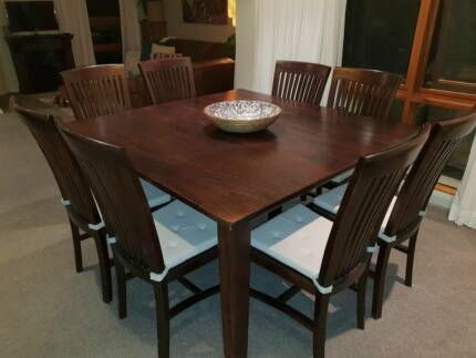 9 Piece Dining Suite Solid Timber Square Table 8 Chairs Good Co