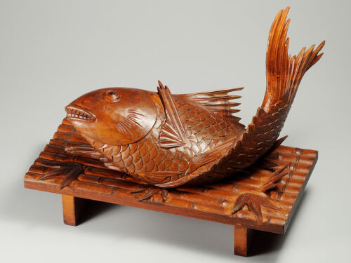 Early 20th century wooden * Sea Perch * Okimono, signed Soko