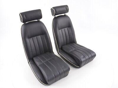 Pair FK Classic Car seats Auto Bucket Black Retro-Look VW Audi Seat Skoda