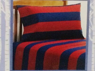 Twin Flannel Sheet Set Stunning Red/Navy 100% Cotton Free Shipping ()