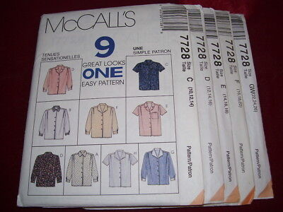 UNCIRCULATED McCALL'S #7728 - LADIES ( 9 EASY STYLE ) SHIRT PATTERN 10-26 (Vogue Vogue)
