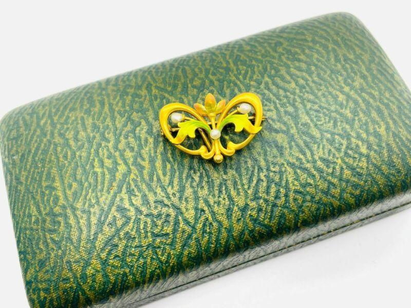 Krementz Art Nouveau 14K Gold Enamel Flower Pearl Watch Pin Pendant Brooch