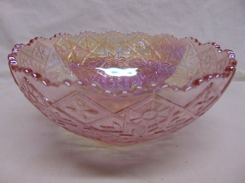 Imperial Signed Pink Iridized - Carnival Glass Footed Bowl