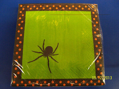 Spooky Spiders Green Orange Stripe Halloween Theme Party Paper Beverage - Spider Themed Halloween Party