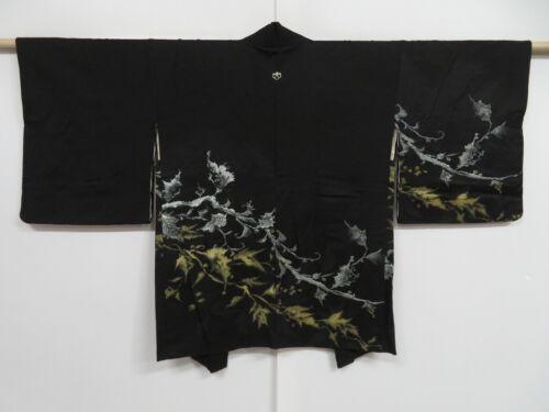 1020i06z510 Vintage Japanese Kimono Silk HAORI Black Plants