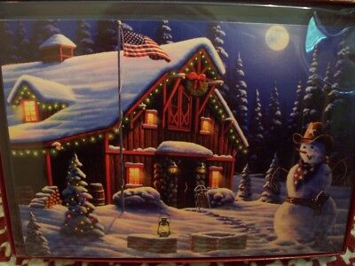 LEANIN TREE CHRISTMAS CARD SET ADORABLE SNOWMAN COWBOY 10 PK NEW ! - Cowboy Snowman
