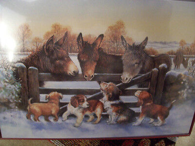 LEANIN TREE  CHRISTMAS CARD SET ADORABLE DONKEYS & PUPPY DOGS NEW !
