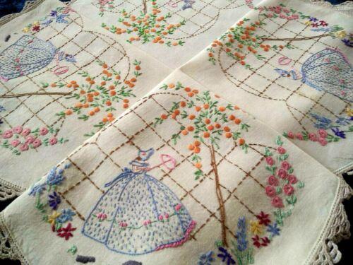 Charming Blue Crinoline Lady & Orange Tree Vintage Hand Embroidered Tablecloth