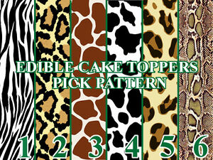 Animal print patterns edible image cake toppers cupcakes for Animal print edible cake decoration