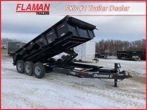 Diamond C 16' Dump Trailer - Triple 7000 lb Axles!
