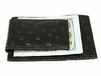 - Ostrich Embossed Leather Slim Magnetic Money Clip 3 Credit Card Holder Black