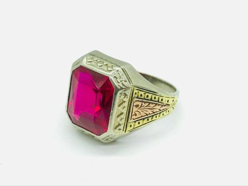 """Art Nouveau """"La France"""" 10K Tri-Color Gold Synthetic Ruby Ring"""