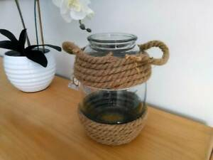 BEACH House Style Clear GLASS LANTERN or VASE with ROPE Handle