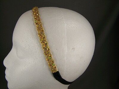 Gold glitter sparkle thin skinny braid headband braided 3/8