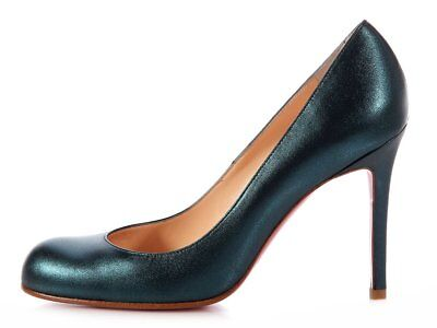 100% AUTHENTIC NEW WOMEN LOUBOUTIN SIMPLE 100 PEACOCK GREEN PUMPS/HEELS US 10
