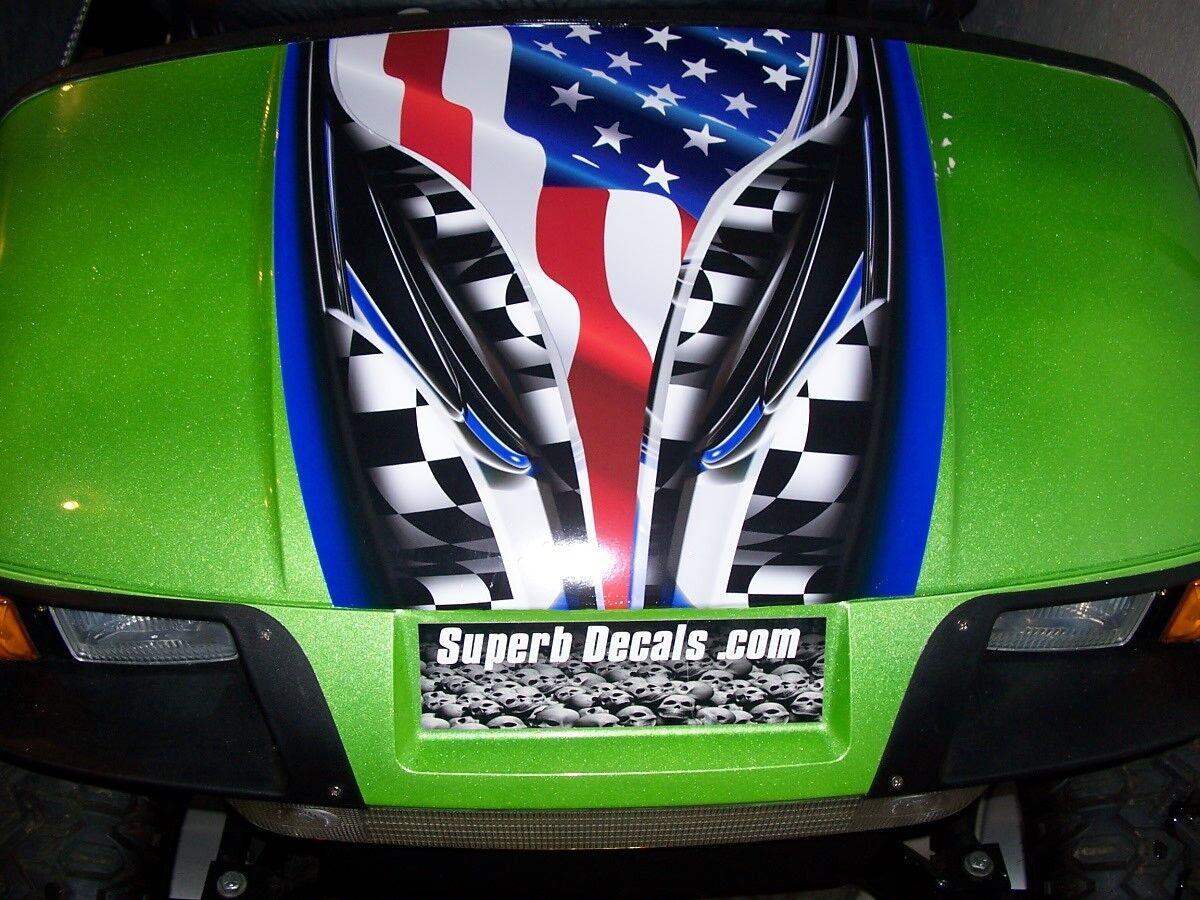 Golf Cart Adrenalin Rush American Flag HOOD Stripe Graphics EZGO club Car Yamaha