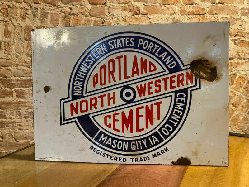 ANTIQUE PORCELAIN PORTLAND NORTHWESTERN CEMENT SIGN MASON CITY IOWA