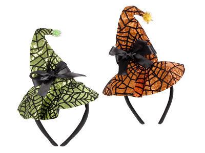 Halloween Spinnennetz Hexenhut unigröße 18 x 25 cm mit Schleife kostüm 190124 - Spinnennetz Halloween Kostüm