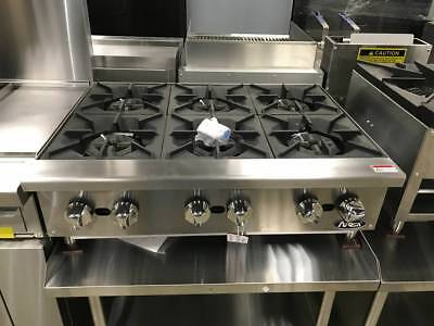 New 36 6 Burner Counter Top Gas Hot Plate Range Stove Commercial Natlp Gas