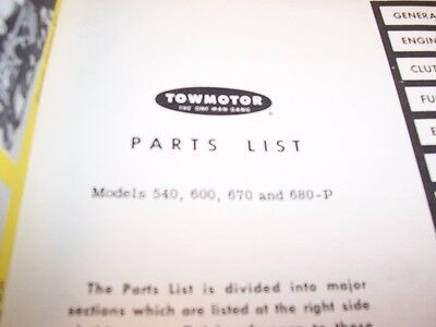 Towmotor Models 540 600 670 680-p Lift Truck Forklift Parts Catalog Manual
