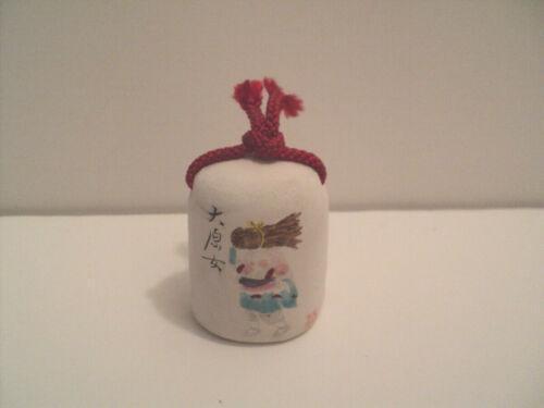 Asian Porcelain White Mini Bell Figure Carrying Stick Bundle
