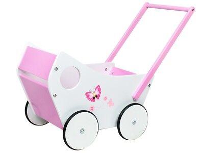 Puppenwagen aus Holz Weiß Rosa Lauflernwagen Holzpuppenwagen Kinder 4583