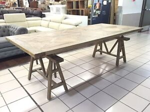 SOLID TIMBER DINING TABLE W/TRESTLE LEGS & ADJUSTABLE HEIGHT Cleveland Redland Area Preview