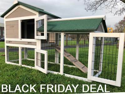 5FT OUTDOOR RABBIT HUTCH AND RUN WITH 2 TWO TIER WOODEN GUINEA PIG BUNNY GREY