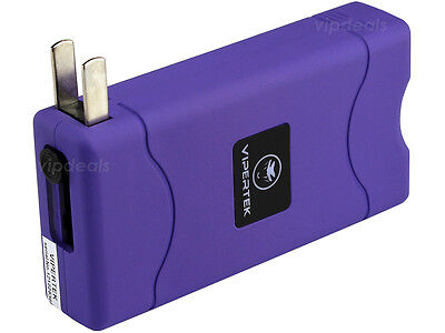VIPERTEK PURPLE Mini Stun Gun VTS-880 30 BV Rechargeable LED Flashlight