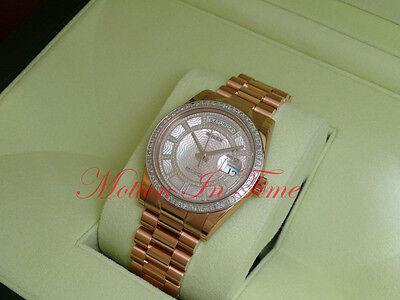 Rolex Day-Date President 18k Rose Gold Diamond Bezel and Carousel Diamond 118395
