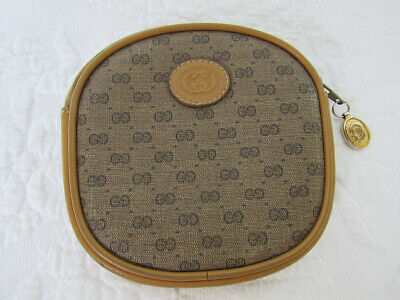 Auth. Vintage Gucci Zippered Coin Purse Wallet Tan Small G Monogram PVC