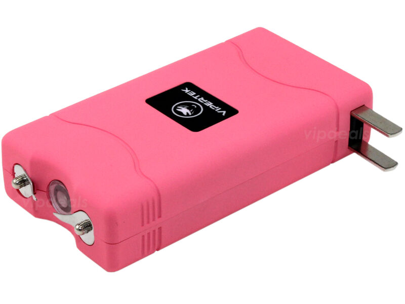 VIPERTEK PINK VTS-880 50 BV Mini Rechargeable LED Police Stun Gun + Taser Case