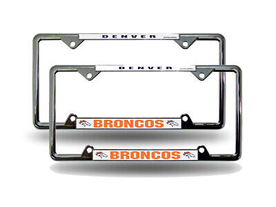 Denver Broncos 4 Corner EZ View Chrome Metal  License Plate