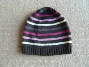 Girls Stiped Beanie. Acrylic. Grey/purple/pink/white. AS NEW. Claremont Nedlands Area Preview