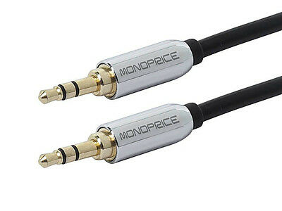 Monoprice 6ft Designed for Mobile 3.5mm Stereo Male to Male Gold Plated Black