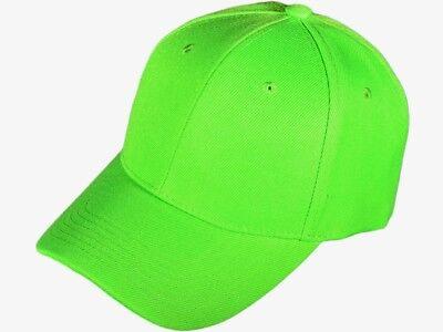Solid Neon Green baseball cap bright hi visibility safety hat  Ballcap  - Neon Green Hats