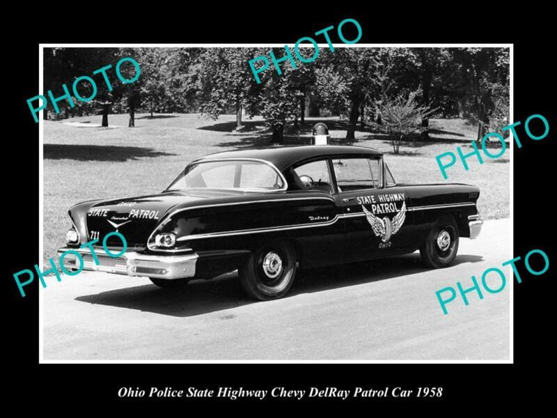 OLD 8x6 HISTORIC PHOTO OF OHIO STATE POLICE PATROL CAR CHEVROLET DELRAY 1958