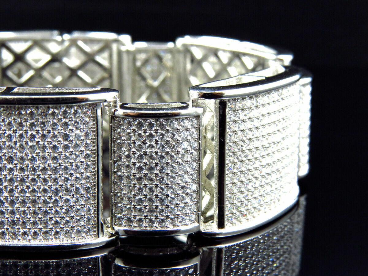 15Ct Round Cut Diamond 14K White Gold Over Men's Exclusive Link Bracelet 6
