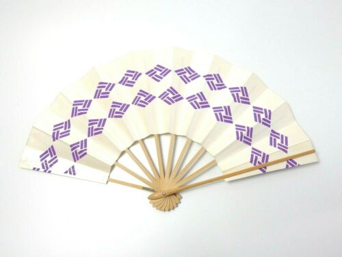 Japanese antique vintage white purple Maisen Ougi Sensu folding fan chacha