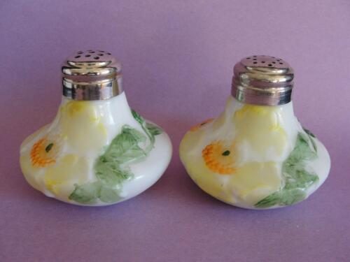Pair Antique Dithridge & Company Bulge Bottom Variant Art Glass Salt Shakers