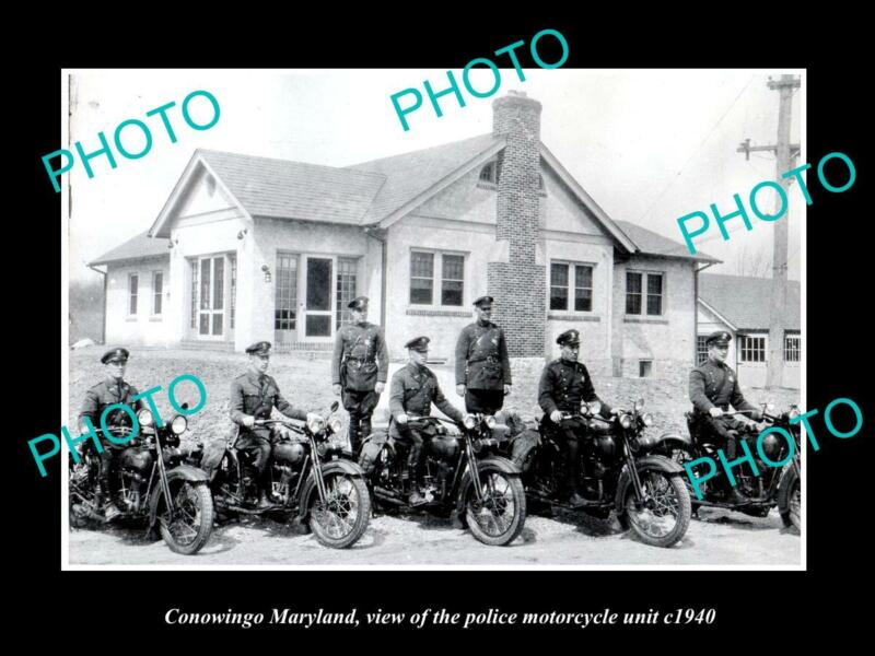 OLD 8x6 HISTORIC PHOTO OF CONOWINGO MARYLAND THE POLICE MOTORCYCLE SQUAD 1940