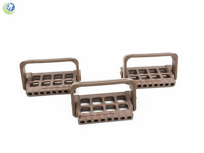 3x Dental Endo File Holder Block Caddy Root Canal W Ruler Brown Autoclavable